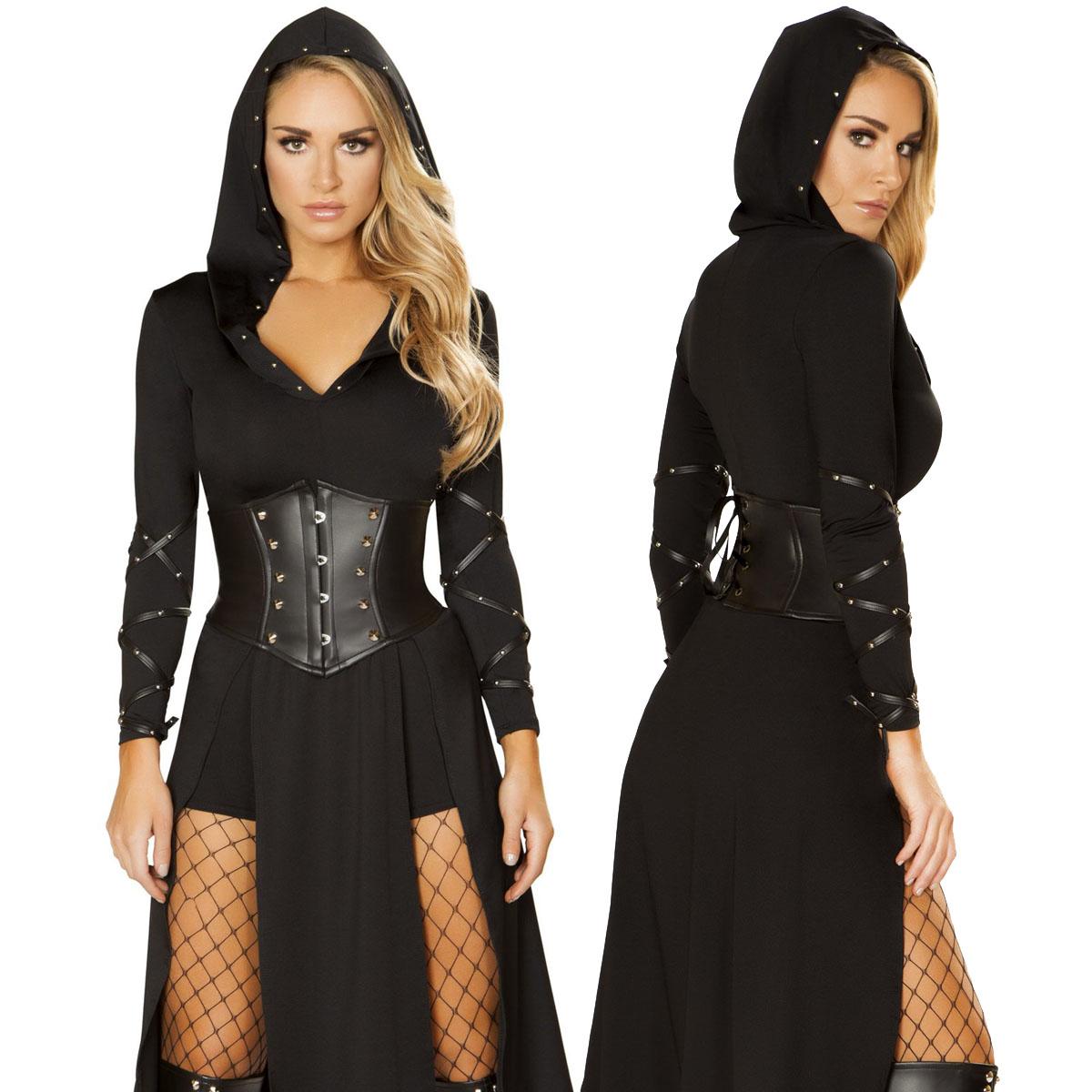 海外ブランド ROMA ローマ ハロウィンコスチューム レディースファッション コスプレ衣装 仮装 アサシンコスチューム3点セット ブラック スタッズ装飾 フード付きアームラップ装飾ドレス 背中レースUPウェストニッパー、ショーツがセット