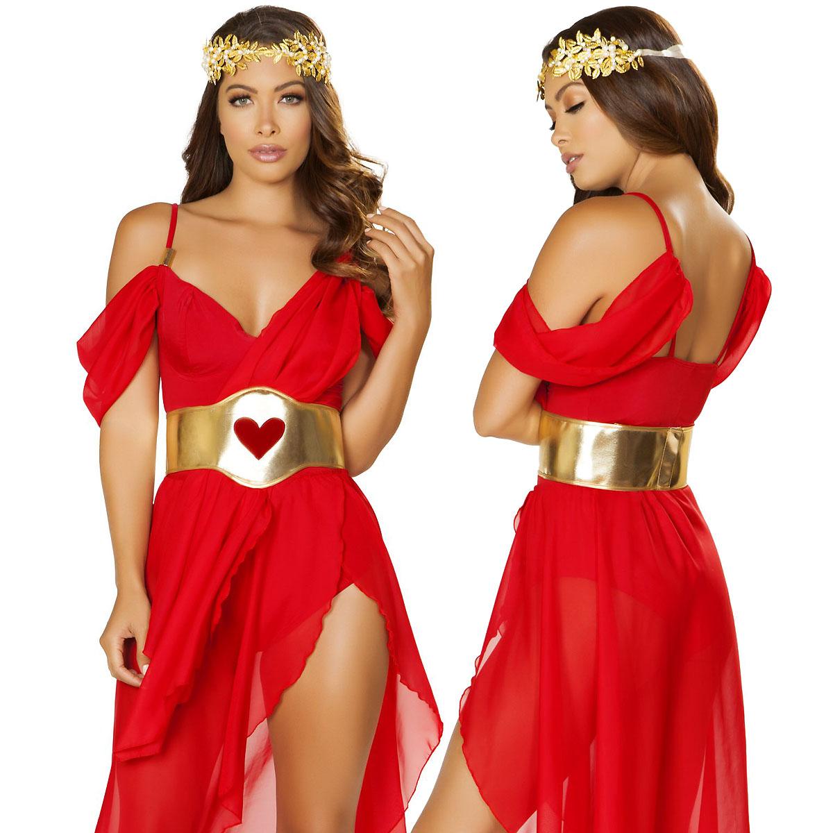 海外ブランド ROMA ローマ ハロウィンコスチューム レディースファッション コスプレ衣装 仮装 赤のドロップスリーブロンパース スリットスカート、ウェストバンド 女神コスチューム3点セット■別売り品番:rm4878=ゴールドのヘッドバンド