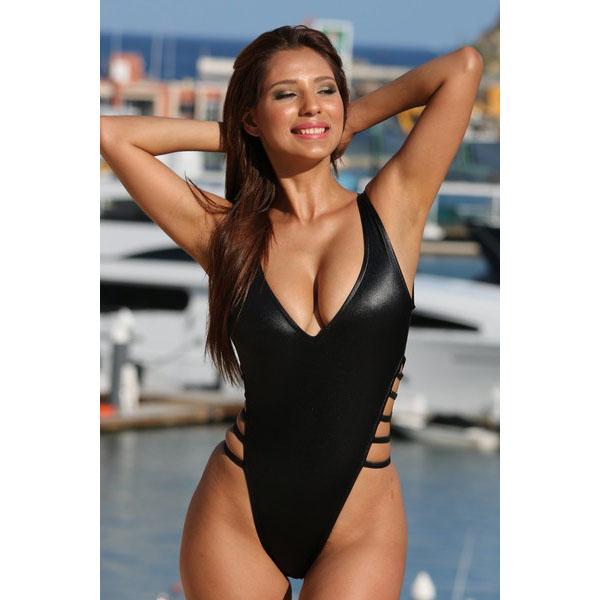 海外ブランド水着 レディースビキニ ブラック ウェット ディーププランジング ハイカットレッグ 脇ストラップ 水着仕様 大人 モデル