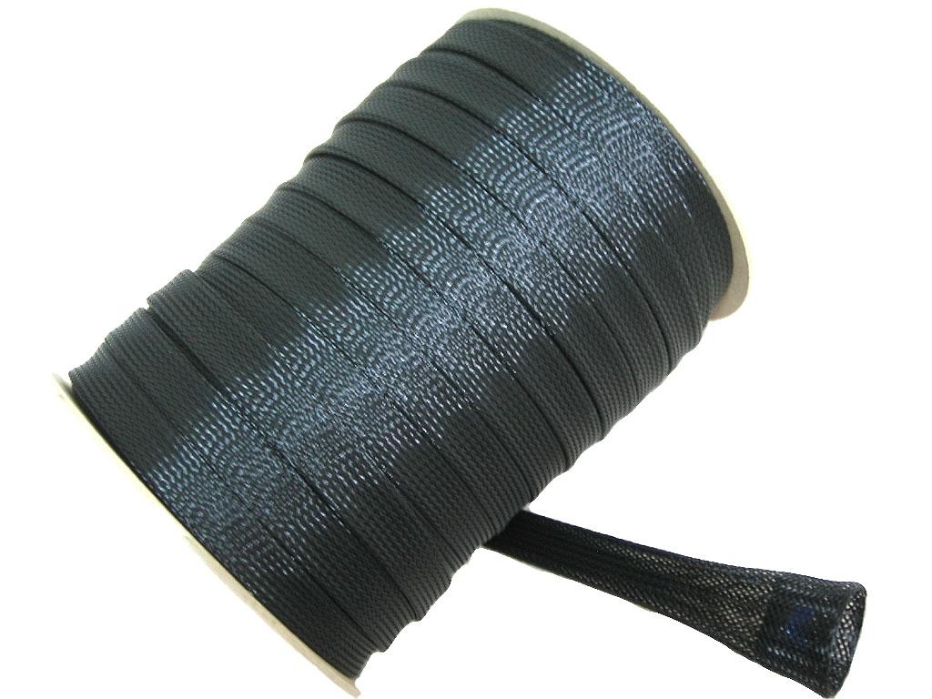 ケーブル被覆用 ポリエステル編組スリーブ  内径(通常):約12φ ~ (拡大):約28φ  折幅22mm  100M巻