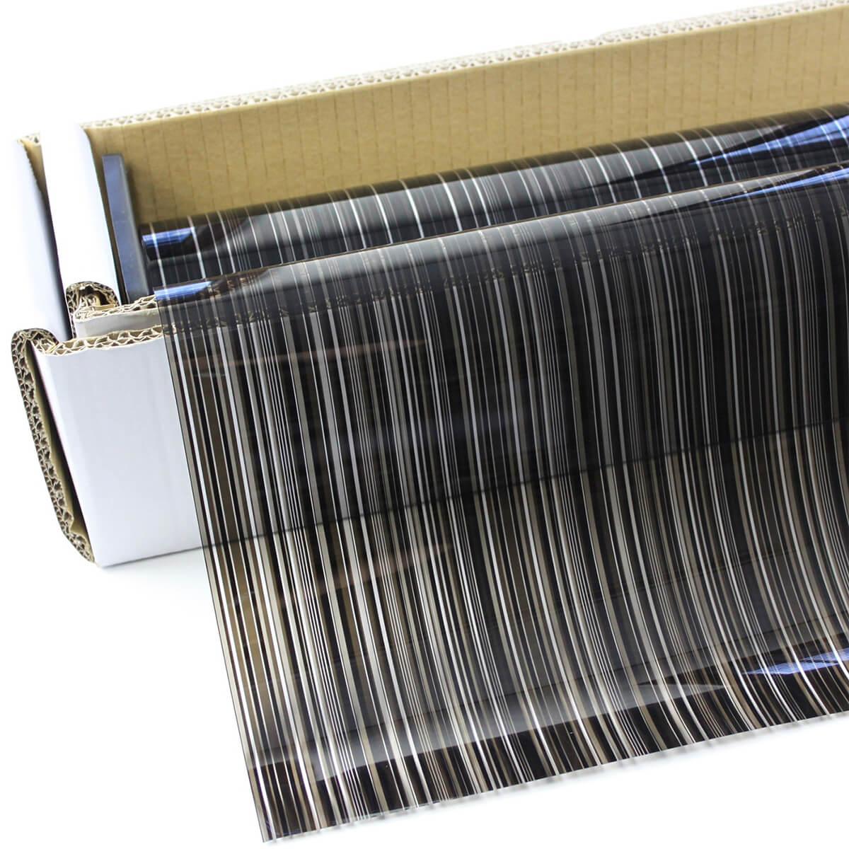 マルチストライプブラック・デコ(黒ストライプ柄) 123cm幅×30mロール箱売 ウィンドウフィルム 窓ガラスフィルム ガラスシート デコレーションフィルム 装飾フィルム UVカットフィルム ブレインテック Braintec #D-MSB48 Roll#
