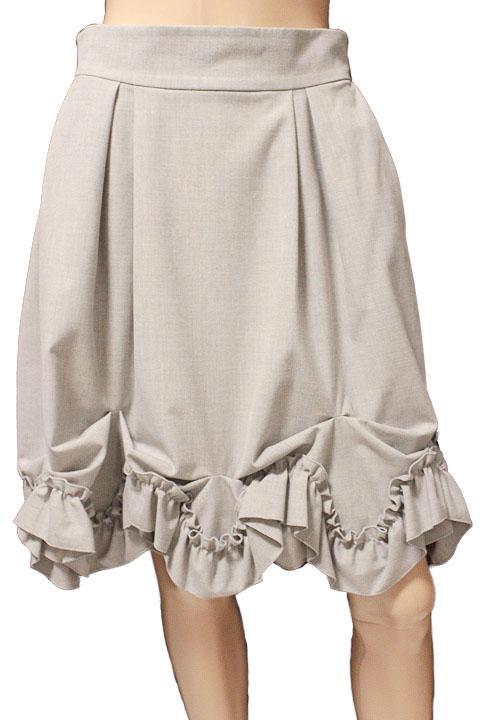 FOXEY NEW YORK フォクシーニューヨーク ブリリアント フリル スカート 31668 ライトグレー size 42【中古】【鑑定済み】【送料無料】