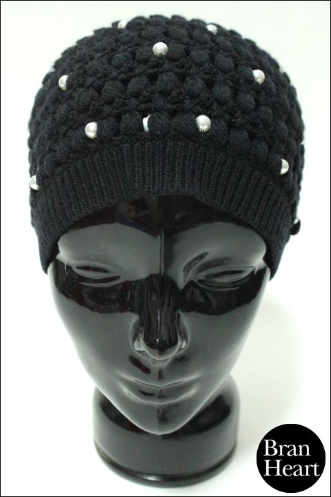alice + olivia アリス アンド オリビア パール装飾 ニット帽 ニットキャップ ブラック レディース 帽子 【中古】【2点以上同時購入で送料無料】