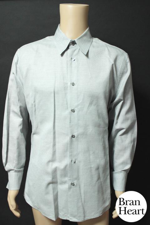 ヴェルサーチ VERSACE ストライプ模様 長袖 ワイシャツ グレー size54 メンズ 紳士 ビジネス【中古】【送料無料】