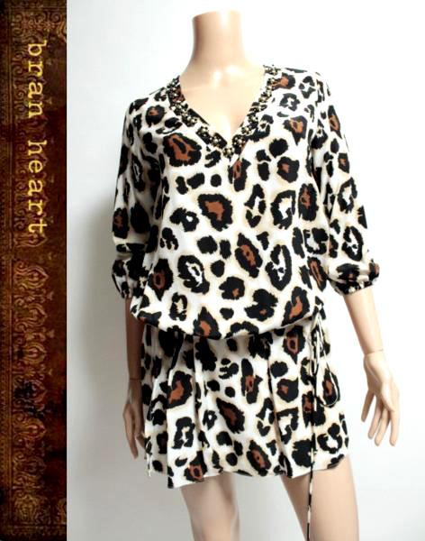 Blumarine Leopard Print One piece Dress NEW売り切れる前に☆ cruise ブルマリン ビジュー装飾 中古 ワンピース レオパード柄 安全 レディース 38 送料無料 size チュニック