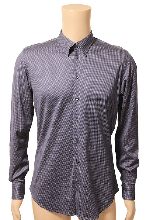 GIORGIO ARMANI ジョルジオアルマーニ 総柄 長袖 ワイシャツ カジュアルシャツ size 41 ネイビー メンズ PSC06TPS84C【中古】【鑑定済み】【送料無料】
