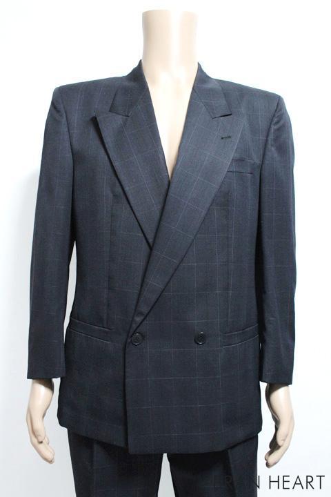 istante イスタンテ グラフチェック柄 2B ダブル スーツ サイズ48【中古】メンズ 紳士 ビジネス【2点以上同時購入で送料無料】