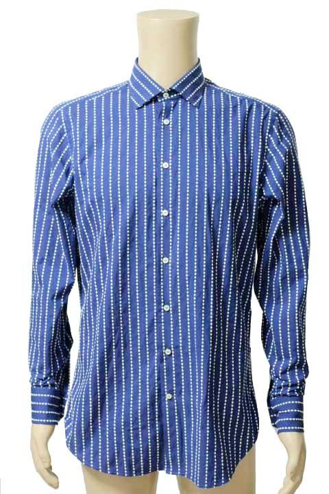 【中古】ETRO エトロ ステッチ ストライプ 長袖 ワイシャツ カジュアルシャツ ネイビー size 41 メンズ【鑑定済み】【送料無料】