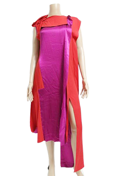 Maison Martin Margiela メゾン マルタン マルジェラ アシンメトリー 変形 デザイン ワンピース ドレス size 38 レッド パープル【中古】レディース【送料無料】