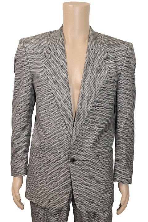 istante イスタンテ 総柄 シングルブレスト ジャケット スーツ スラックス セットアップ グレー size 46 メンズ 紳士【中古】【鑑定済み】【送料無料】