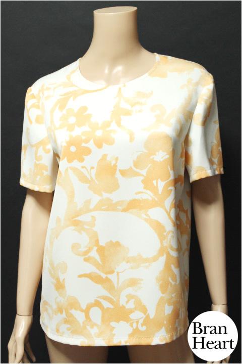 MOSCHINO モスキーノ 花柄 フラワー柄 半袖 カットソー Tシャツ ホワイト オレンジ size 46【中古】レディース トップス【2点以上同時購入で送料無料】