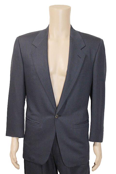 GIANNI VERSACE ジャンニヴェルサーチ ストライプ柄 1B シングルブレスト ジャケット スーツ size 44 ネイビー メンズ【中古】【鑑定済み】【送料無料】