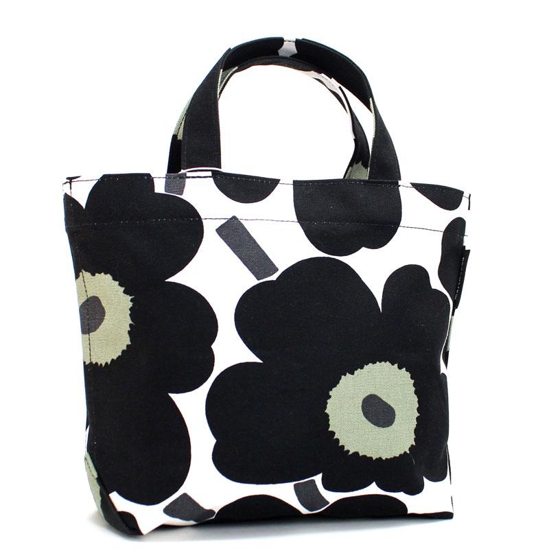 マリメッコ marimekko トートバッグ ピエニウニッコ ブラック×ホワイト キャンバス ハンドバッグ Veronika Pieni Unikko