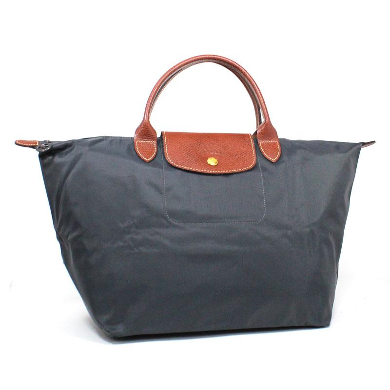 ロンシャン LONG CHAMP ハンドバッグ Mサイズ ガンメタル ル・プリアージュ ミディアム ダークグレー Le Pliage Hand Bag M Gunmetal L1623 089 300
