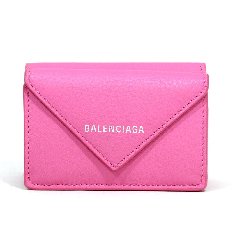 バレンシアガ BALENCIAGA ミニ財布 三つ折り財布 ペーパーミニウォレット ローズブドワール ライトピンク カーフスキン PAPER MINI WALLET ROSE BOUDOIR 391446 DLQ0N 6740