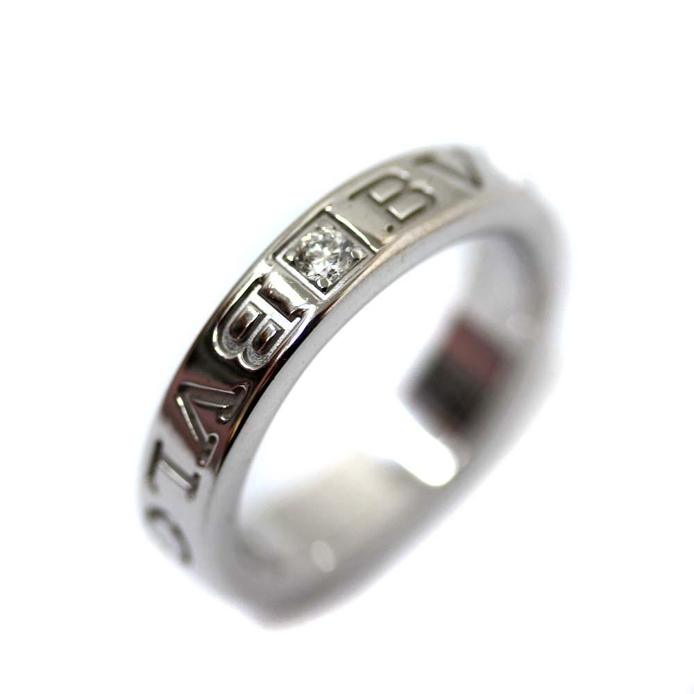 【中古】BVLGARI ブルガリ ダブルロゴ リング・指輪 レディース 8.5号 ホワイトゴールド K18ホワイトゴールド ダイヤモンド ジュエリー 【新品仕上げ済み】
