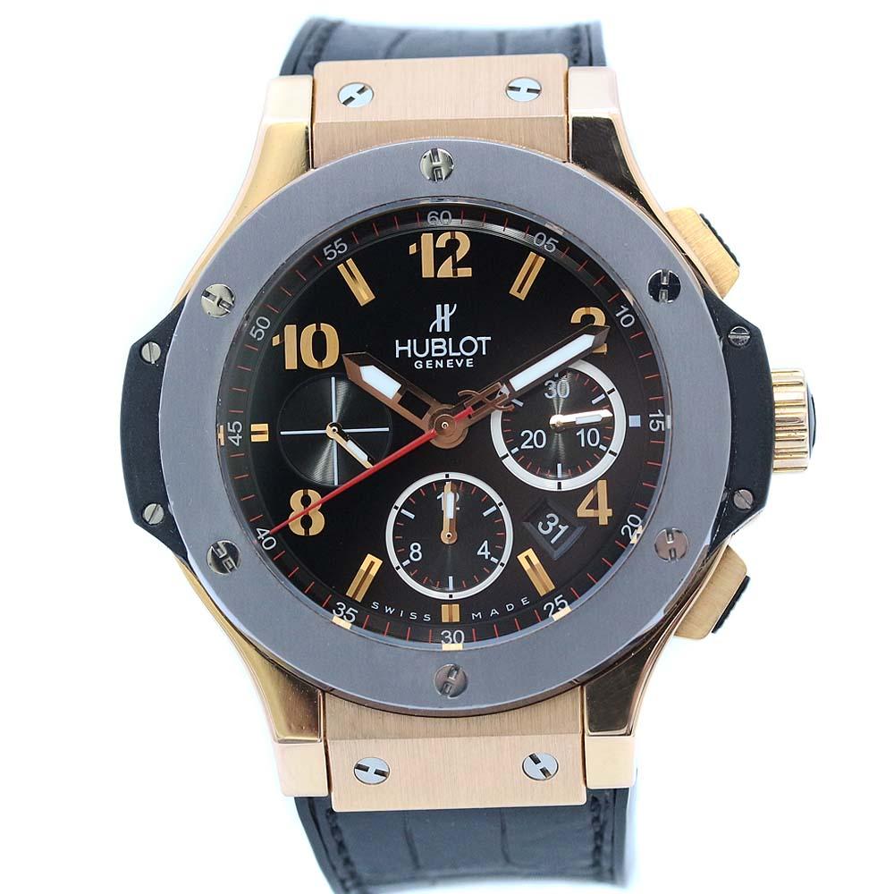 【中古】HUBLOT ウブロ ビッグバン 世界250本限定モデル 革ベルト 腕時計 メンズ 自動巻き ブラック文字盤 ピンクゴールド ブラック グレー 301.PT.130.RX