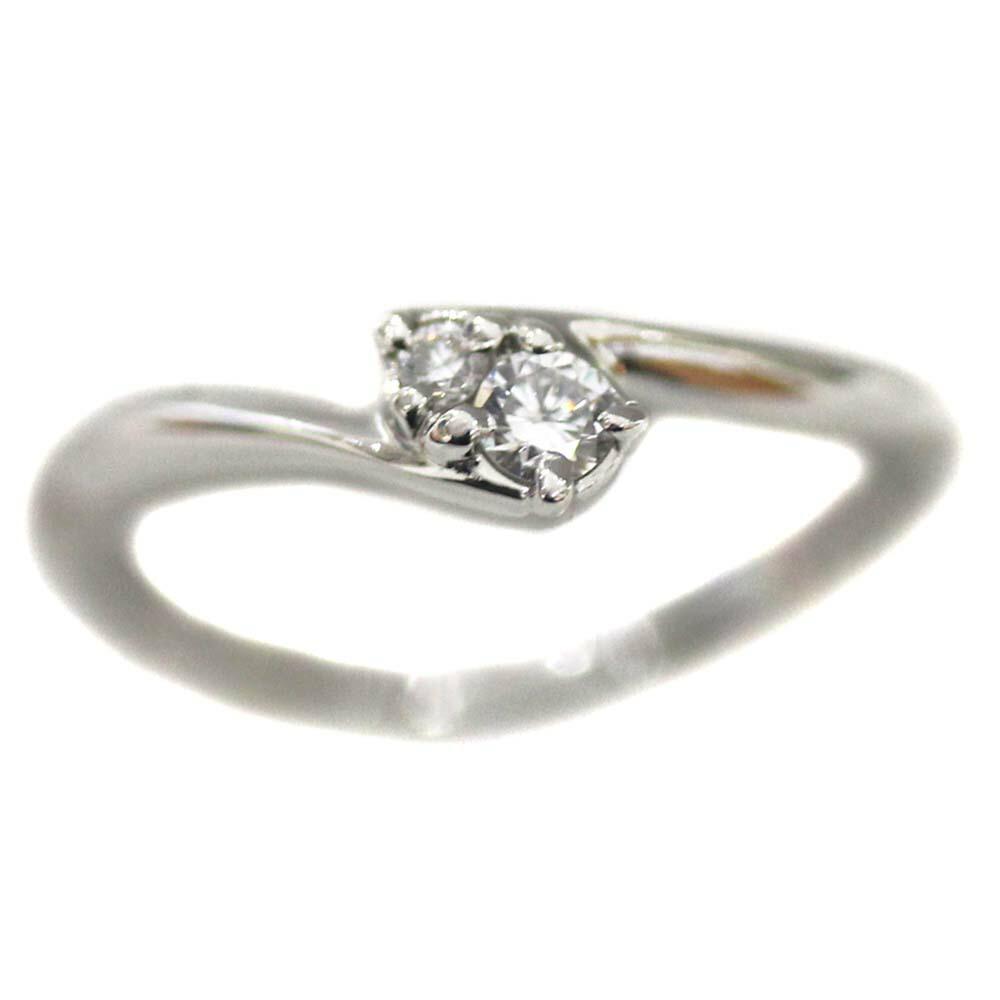 【中古】4℃ ヨンドシー 2P ダイヤ リング・指輪 レディース 6号 プラチナ Pt950プラチナ ダイヤモンド 【新品仕上げ済み】