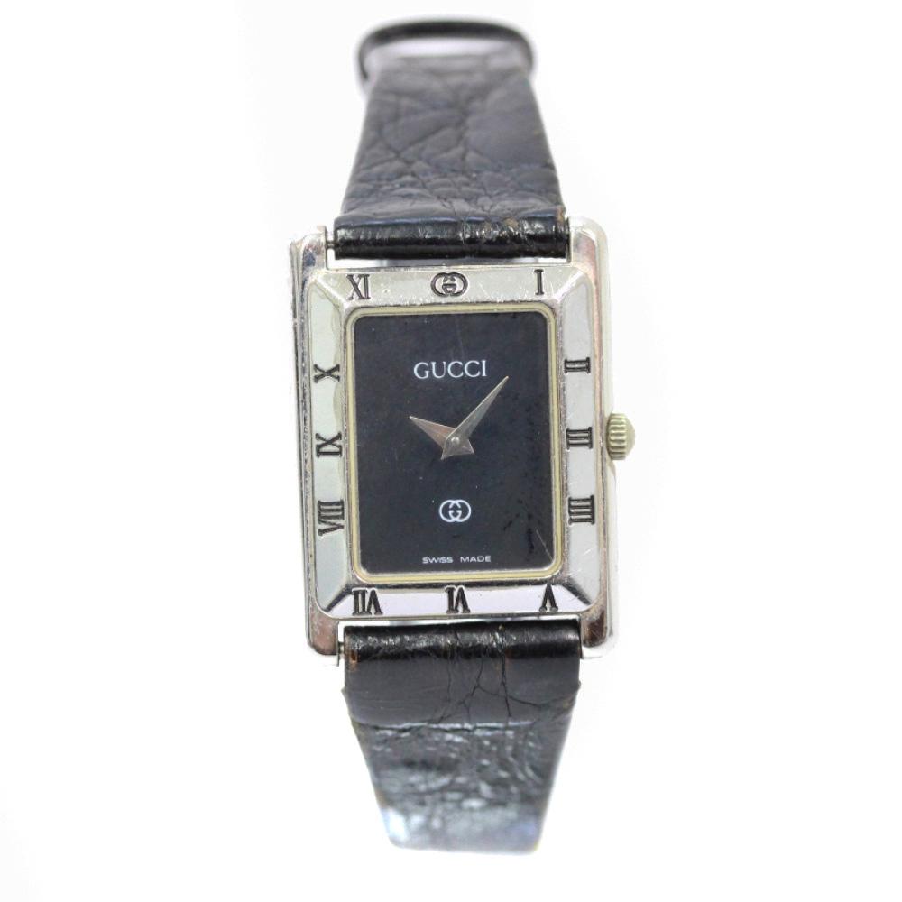 【中古】GUCCI グッチ 腕時計 レディース クオーツ ブラック文字盤 ブラック シルバー 4200L