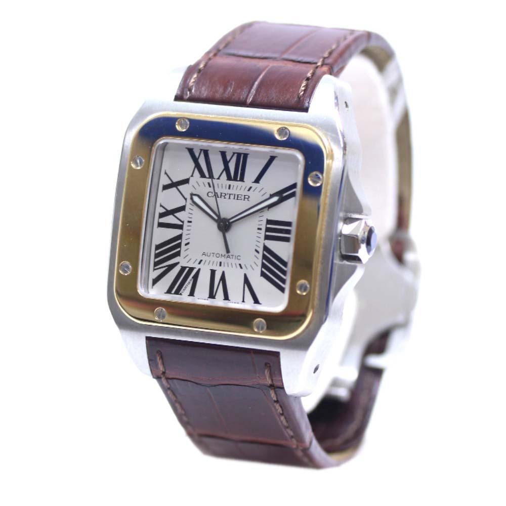 【中古】CARTIER カルティエ サントス100 腕時計 メンズ 自動巻き シルバー文字盤 ブラウン シルバー ゴールド W20072X7