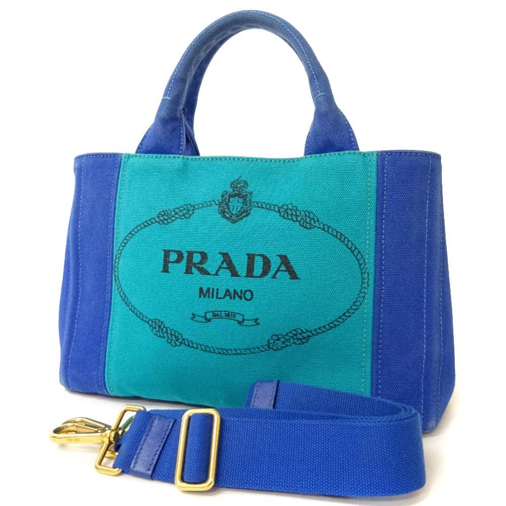 【中古】PRADA プラダ カナパ ミニ 2way トートバッグ レディース ブルー キャンバス B2439G