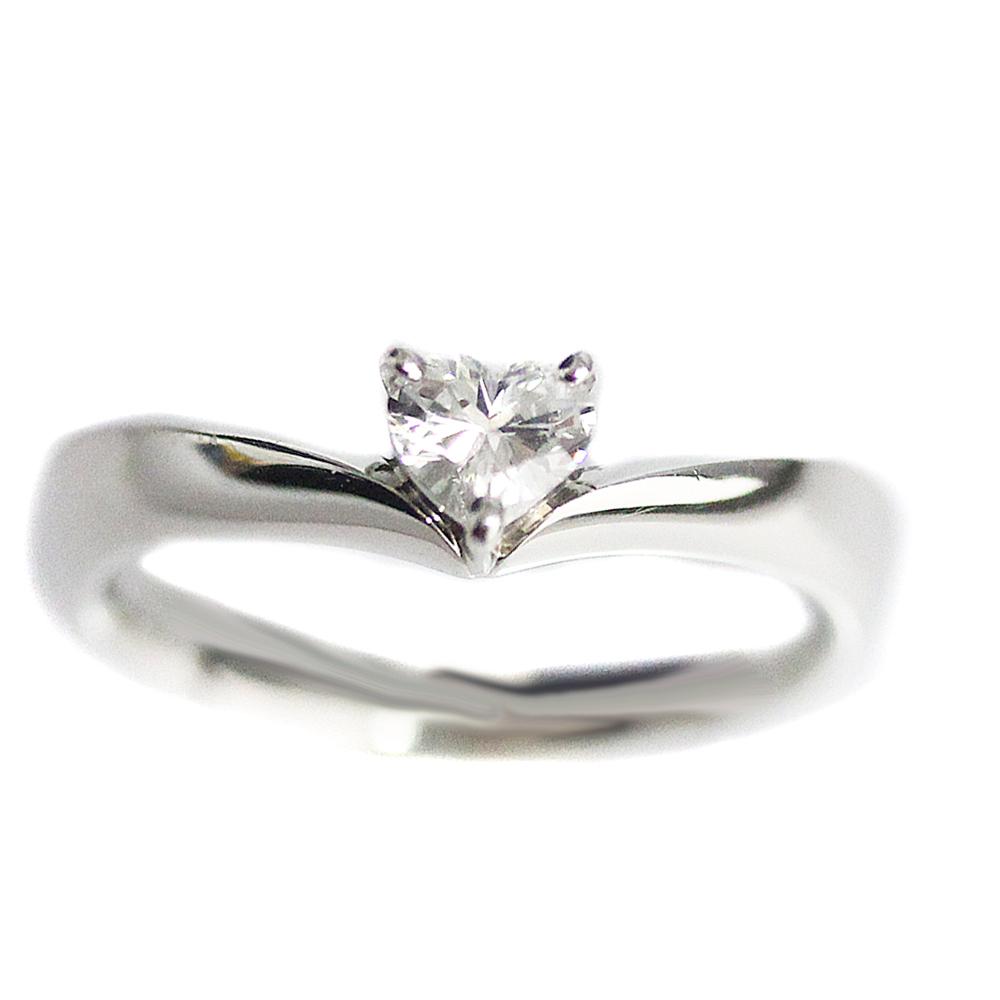 【中古】4℃ ヨンドシー ハート ダイヤ リング・指輪 レディース 9号 PT Pt950プラチナ ダイヤモンド ジュエリー