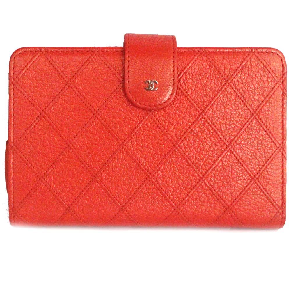 【中古】CHANEL シャネル マトラッセ ココマーク 二つ折り財布 レディース オレンジ 型押しレザー