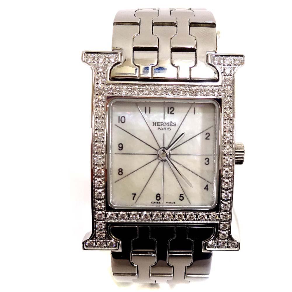 中古 格安SALEスタート Hウォッチ ダイヤベゼル 割り引き シェル文字盤 レディース 腕時計 シルバー HH1.230 HERMES クオーツ エルメス ステンレススチール