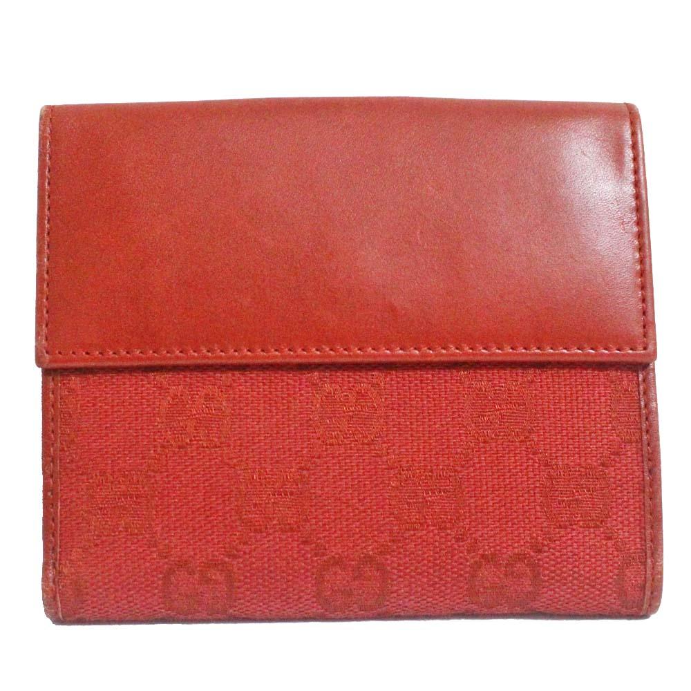 【中古】GUCCI グッチ Wホック GG柄 二つ折り財布 レディース レッド GGキャンバス レザー 143387