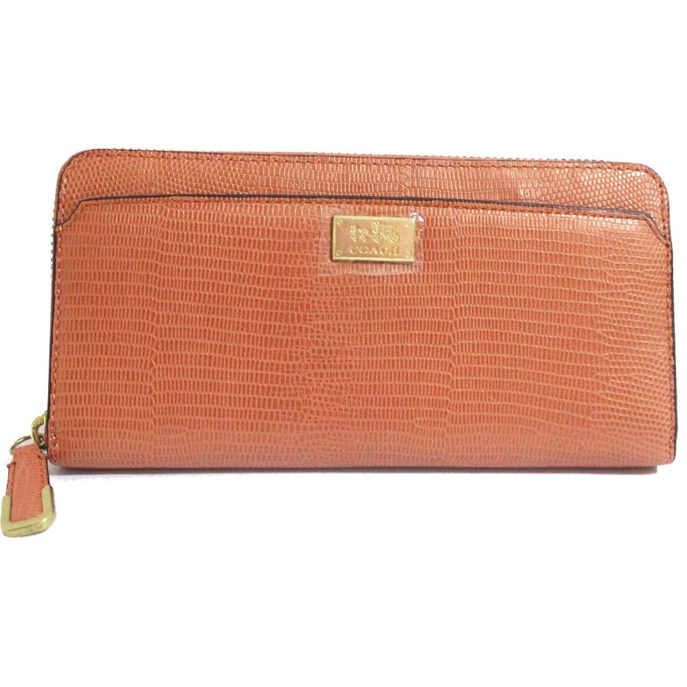 【中古】COACH コーチ ラウンドファスナー ロゴ 長財布 レディース ピンク 型押しレザー 49974