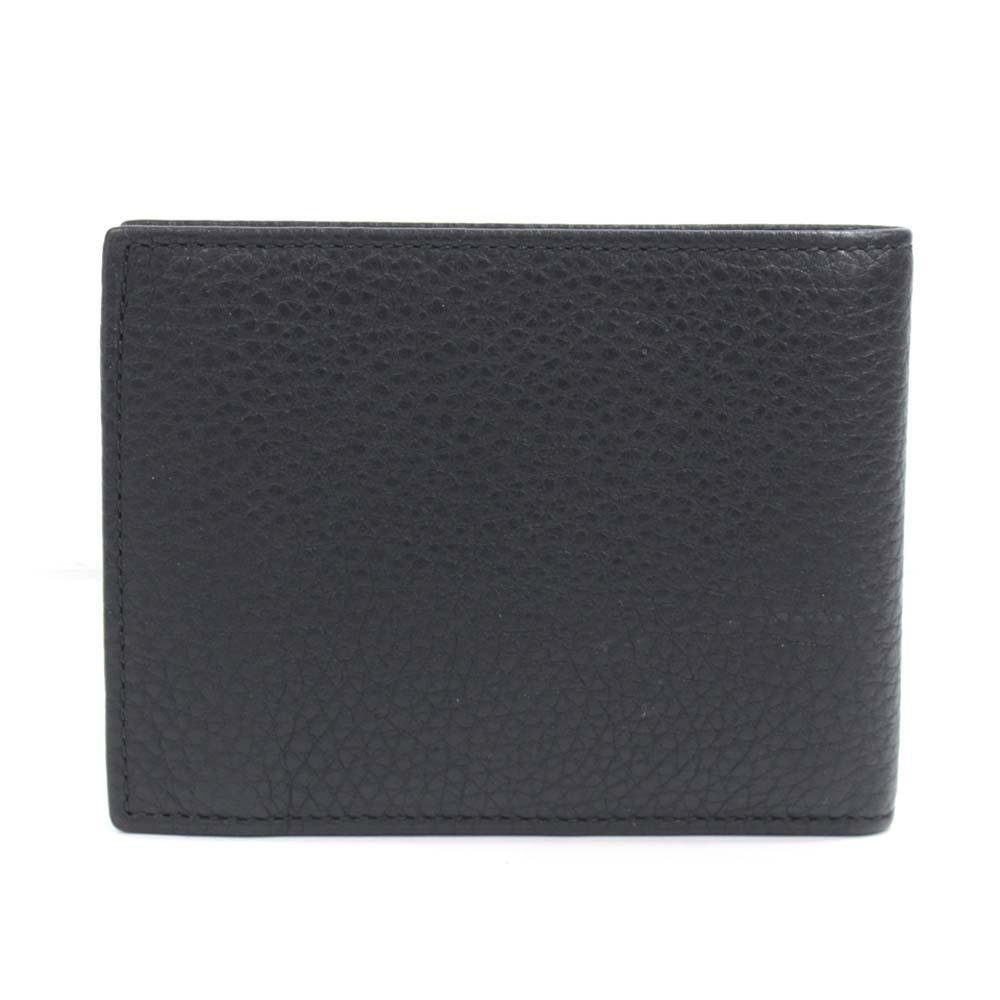 【中古】GUCCI グッチ ロゴ 札入れ 二つ折り財布 メンズ ブラック カーフ 217041 525040