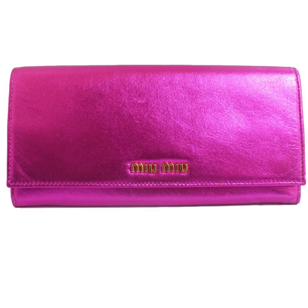 【中古】MIUMIU ミュウミュウ 二つ折り 長財布 レディース メタリックピンク シャニングレザー 5M1109