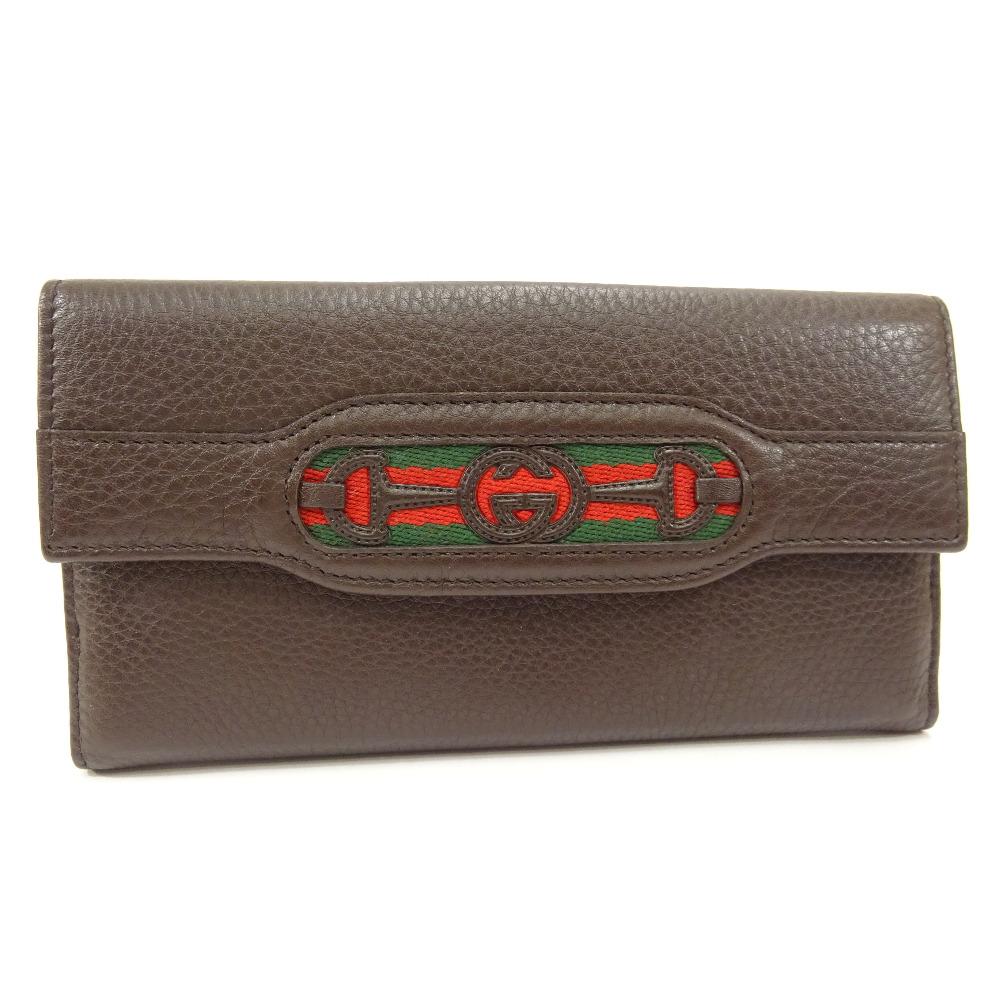 【中古】GUCCI グッチ インターロッキング G ホースビット 二つ折り 長財布 レディース ブラウン ダークブラウン レザー 295351