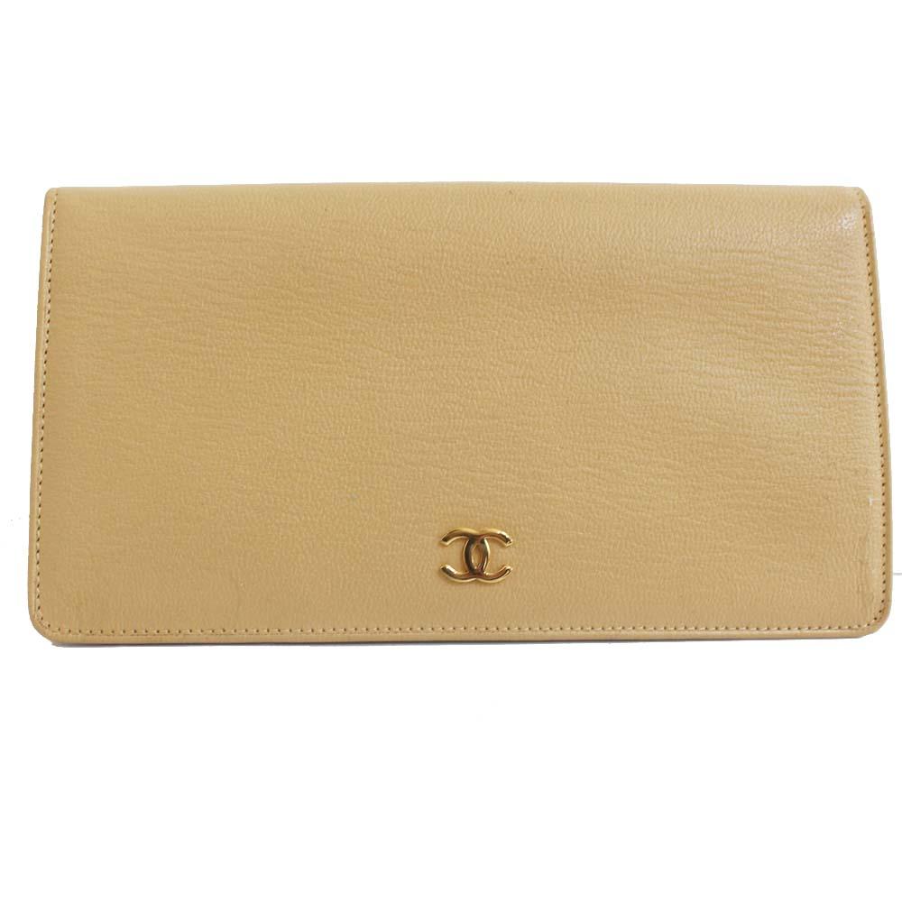 【中古】CHANEL シャネル 二つ折り ココマーク 長財布 レディース ベージュ レザー A68706