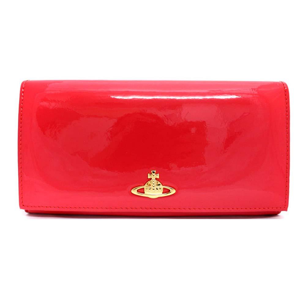 【中古】Vivienne Westwood ヴィヴィアンウエストウッド オーブモチーフ 二つ折り 長財布 レディース ピンク パテントレザー 1032VV30