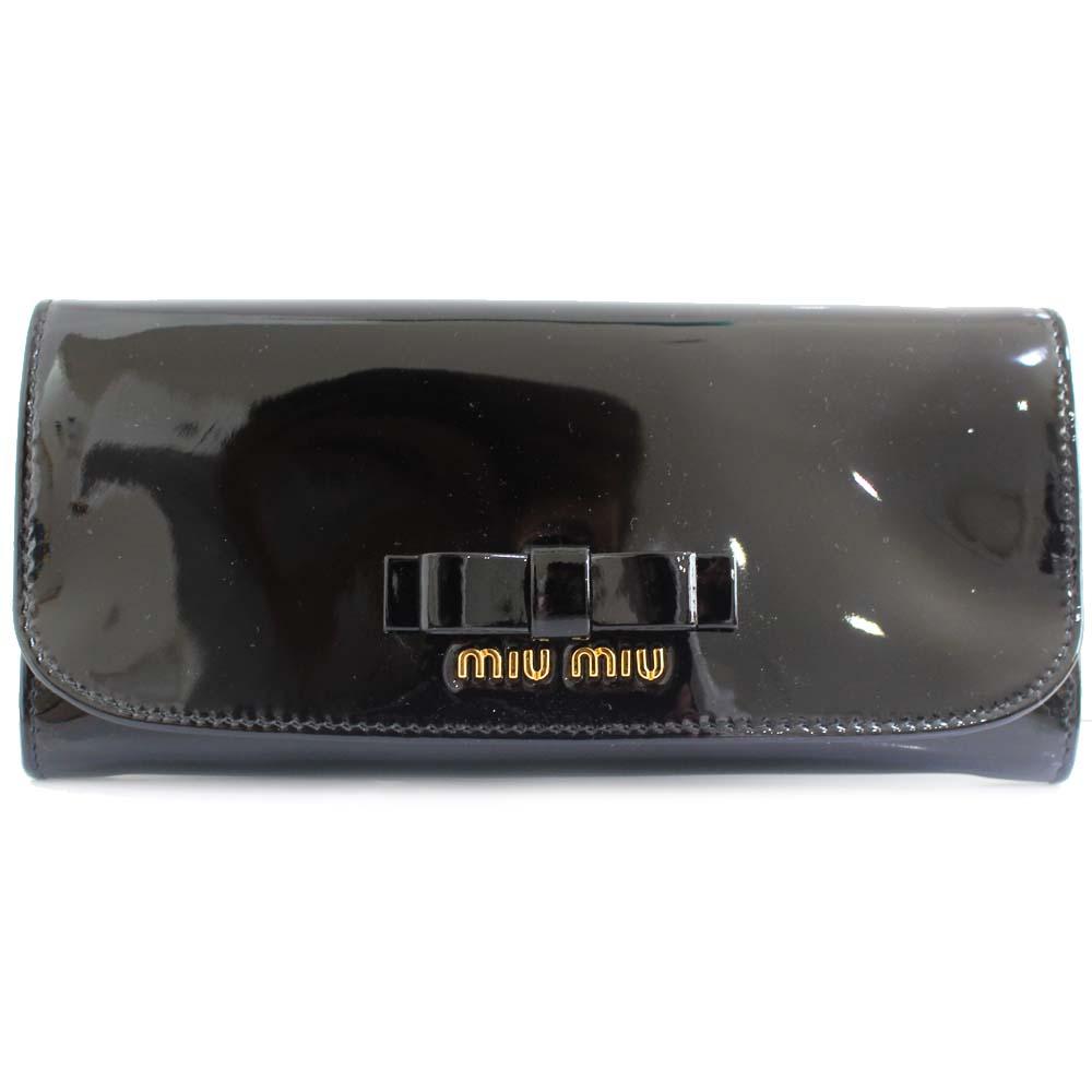 【中古】MIUMIU ミュウミュウ リボン 二つ折り 長財布 レディース ブラック パテントレザー 5M1109