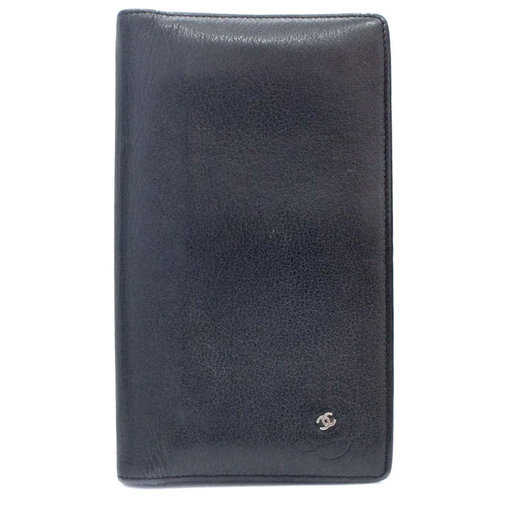 【中古】CHANEL シャネル カメリア ココマーク 二つ折り 長財布 レディース ブラック レザー A46511