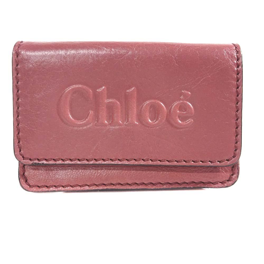【中古】Chloe クロエ シャドウ 名刺入れ カードケース ユニセックス ダークレッド レザー