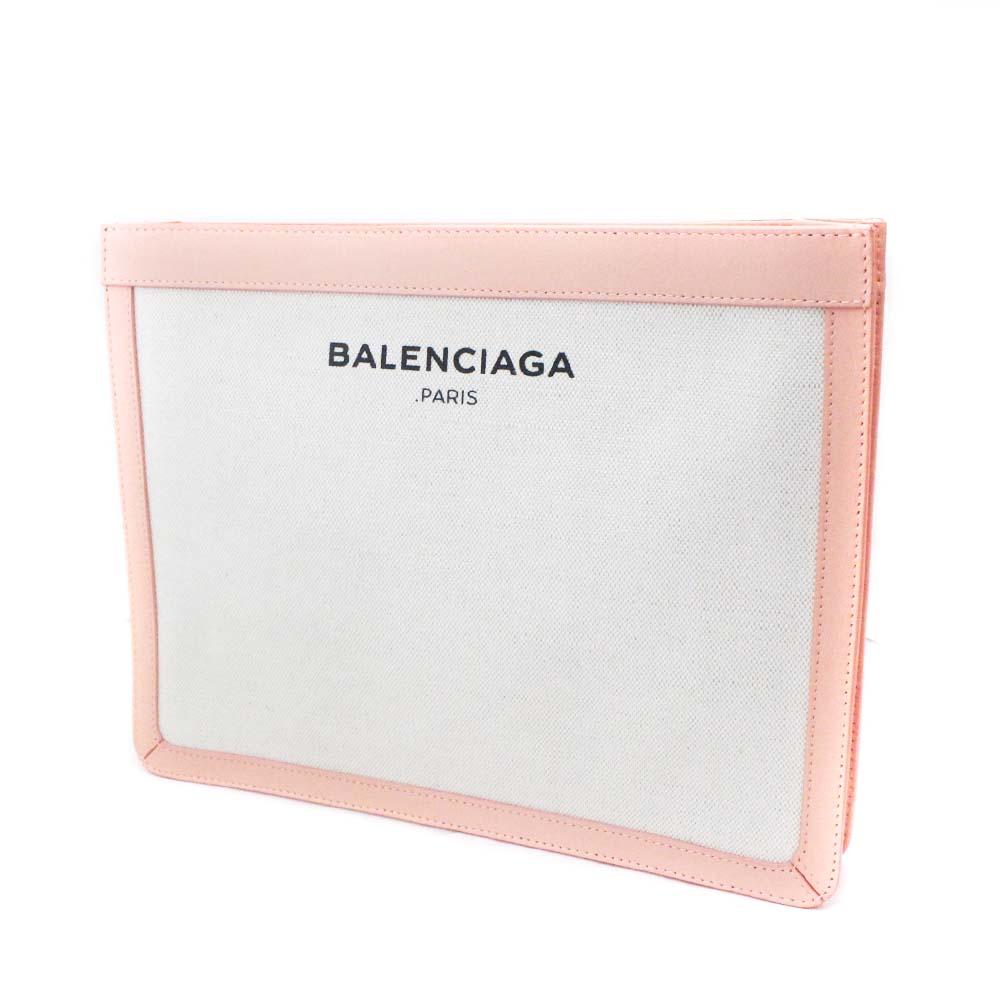 【中古】【美品】BALENCIAGA バレンシアガ ハンドバッグ パーティバッグ クラッチバッグ ユニセックス ピンク ナチュラル キャンバス カーフ 410119