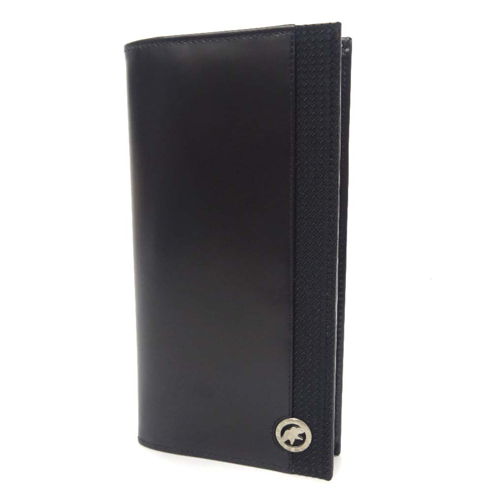 【中古】【美品】HUNTING WORLD ハンティングワールド ワンポイントロゴ 2つ折り 長札入れ 長財布 メンズ ブラック レザー