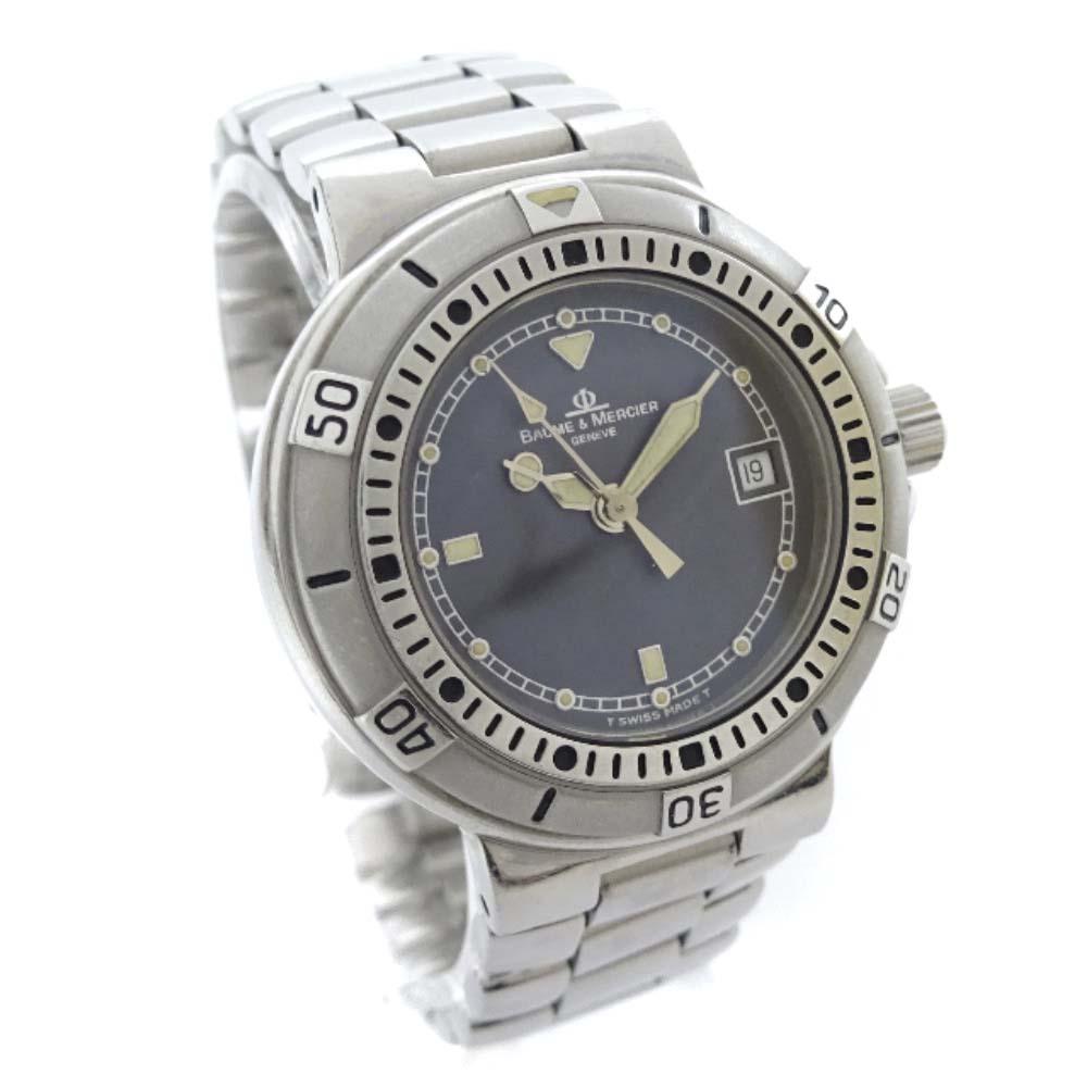【中古】Baume & Mercier ボーム&メルシェ フォーミュラS 腕時計 レディース クオーツ ブラック文字盤 シルバー MV04F032