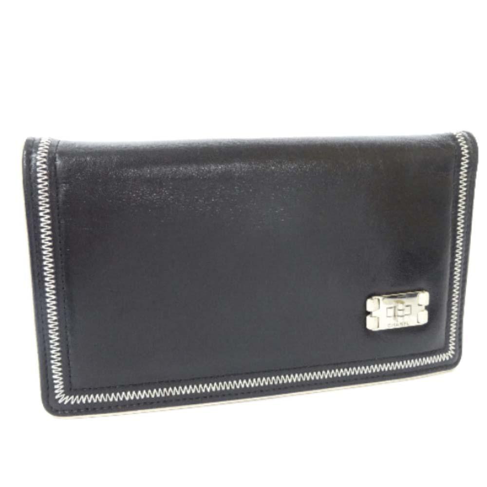 【中古】CHANEL シャネル 2.55 プレート 2つ折り 長財布 レディース ブラック カーフ