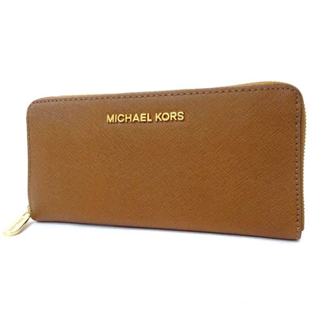 【中古】Michael Kors マイケルコース ラウンドファスナー 長財布 レディース ブラウン ゴールド レザー 32S3GTVE3L