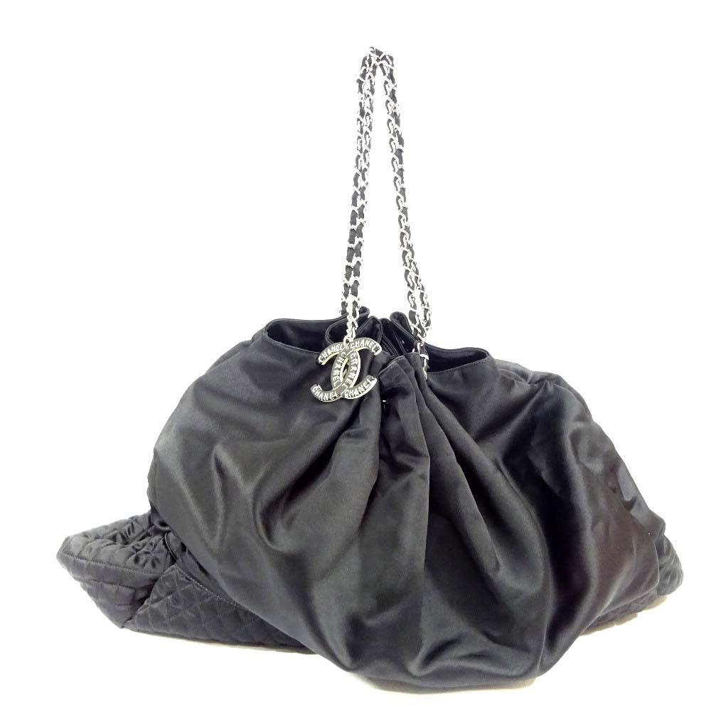 【中古】CHANEL シャネル ココカバス GM 巾着型 チェーン トート シルク ショルダーバッグ レディース ブラック サテン