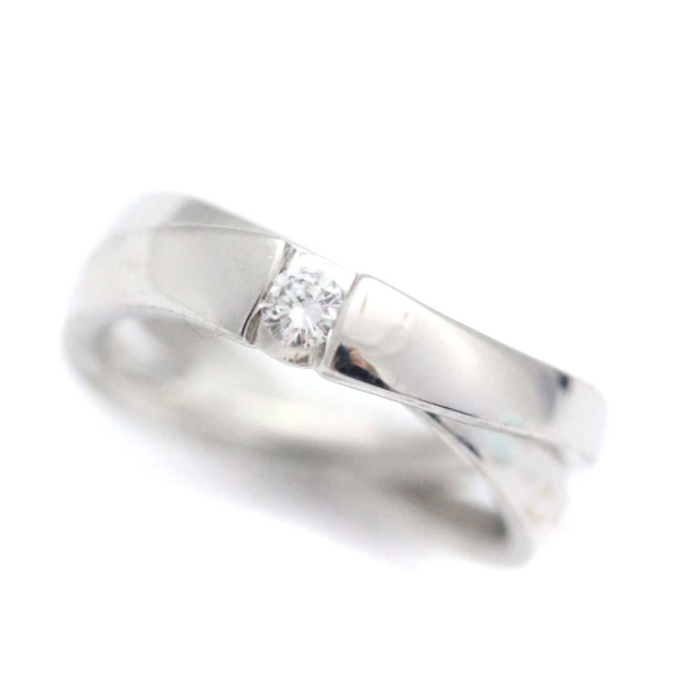 中古 美品 2連 レディース リング 1年保証 スピード対応 全国送料無料 指輪 5号 Pt950プラチナ ジュエリー ダイヤモンド 4℃ ヨンドシー 新品仕上げ済み プラチナ