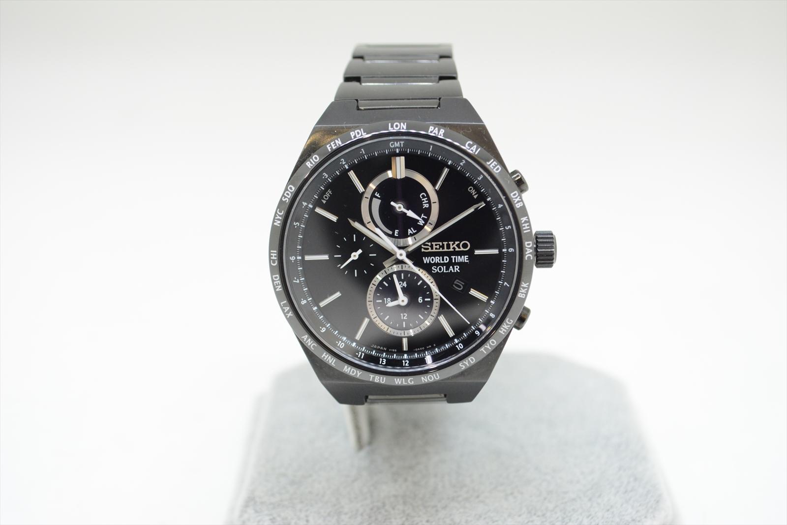 SEIKO セイコー SBPJ037 スピリット スマート ソーラー クロノグラフ ブラック 腕時計 メンズ 【中古】 中洲店 N19-233
