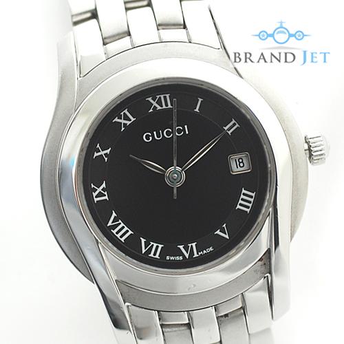 グッチ/5500L レディース 腕時計/ブラック文字盤/クオーツ/ライトポリッシュ&電池交換済み【中古】
