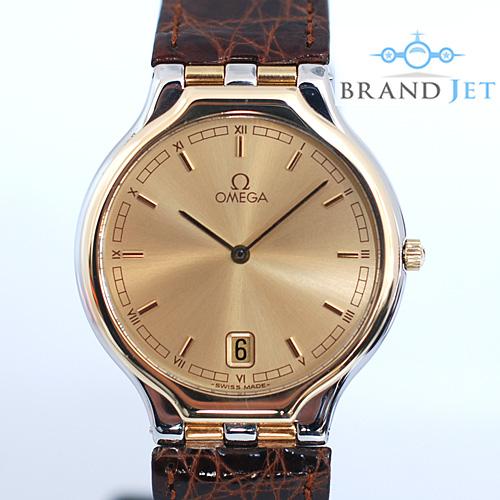 オメガ OMEGA シンボル メンズ 腕時計 クロコダイルベルト SS×750YG/ライトポリッシュ・動作確認済み【中古】