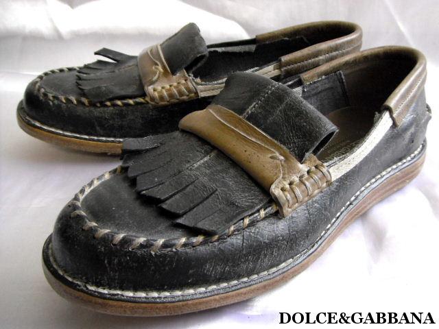 DOLCE&GABBANA ドルチェ&ガッバーナ レザー シューズ 靴 ローファー スリッポン メンズ【未使用】【中古】【新品】