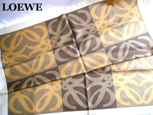 LOEWE ロエベ スカーフ シルク ベージュ×ブラウン レディース【未使用】【中古】【新品】
